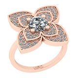 1.38 Ctw SI2/I1 Diamond 14K Rose Gold Vintage Style Ring