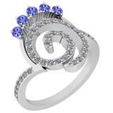0.96 Ctw VS/SI1 Tanzanite And Diamond 14K White Gold Ring