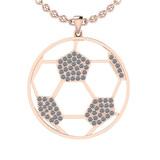 1.02 Ctw SI2/I1 Diamond 14K Rose Gold Football Pendant