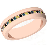 0.16 Ctw I2/I3 Multi Treated Fancy yellow,Blue,Black diamond 14K Rose Gold Entertiy Band Ring