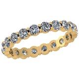 0.98 Ctw Diamond I2/I3 14K Yellow Gold Eternity Band Ring