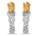 10k White Gold Oval Citrine And Diamond Earrings 0.31 CTW