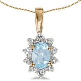14k Yellow Gold Oval Aquamarine And Diamond Pendant