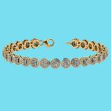 Certified 4.59 Ctw SI1/I2 Diamond 18K Yellow Gold Bracelet