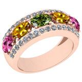1.45 Ctw I2/I3 Multi Sapphire And Diamond 10K Rose Gold Wedding Band Ring