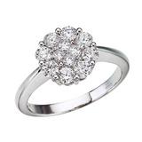14K White Gold Diamond Clustaire Ring (1 carat) 1 CTW