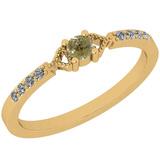 0.18 Ct Natural Yellow Diamond I2/I3And White Diamond I2/I3 10K Yellow Gold Vintage Style Ring