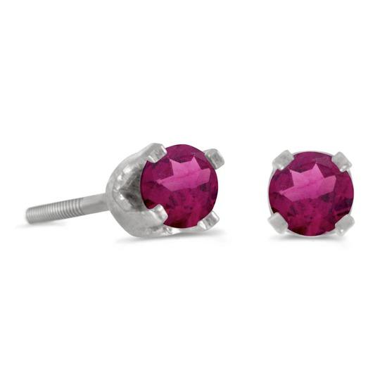 3 mm Petite Round Rhodolite Garnet Screw-back Stud Earrings in 14k White Gold 0.24 CTW