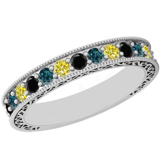 0.83 Ctw I2/I3 Multi Treated Fancy yellow,Blue,Black diamond 14K White Gold Filigree Style Band Ring
