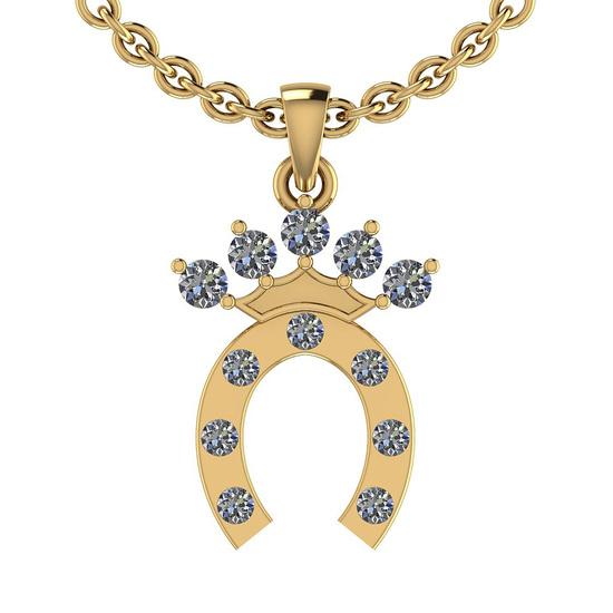 0.27 Ctw SI2/I1 Diamond 14K Yellow Gold Men's Pendant