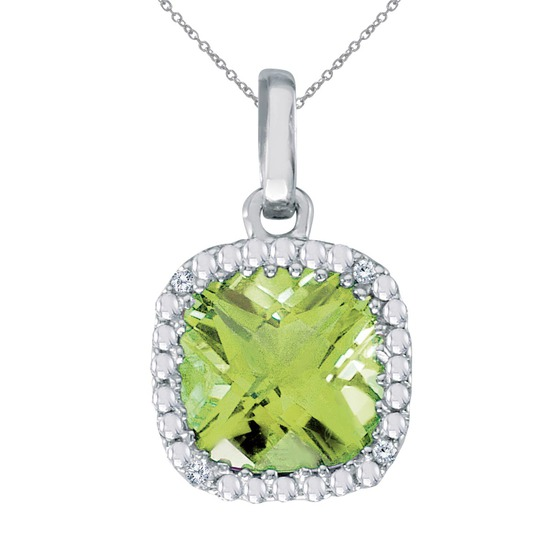 14k White Gold Cushion Cut Peridot And Diamond pendant