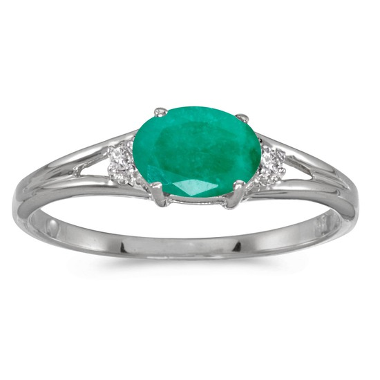 14k White Gold Oval Emerald And Diamond Ring 0.33 CTW
