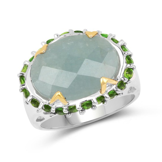 Two Tone Plated 9.12 CTW Genuine Milky Aquamarine and Chrome Diopside .925 Sterling Silver Ring