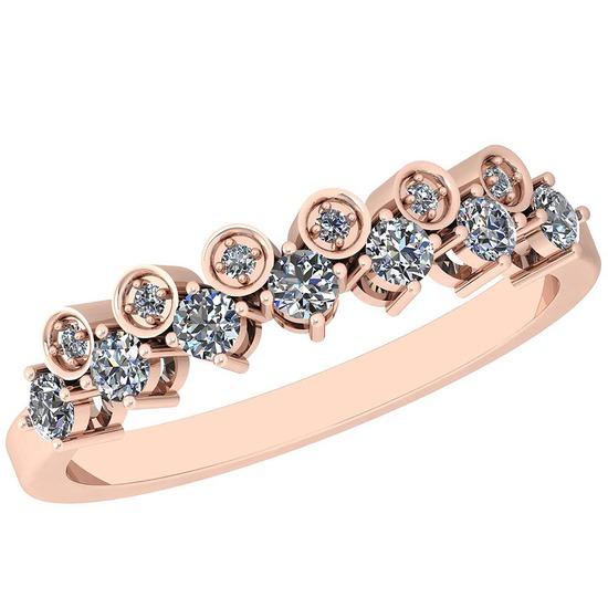 0.34 Ctw Diamond I2/I3 14K Rose Gold Eternity Band Ring