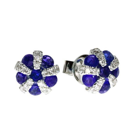 14k White Gold Sapphire and Diamond Ball Earrings 1.41 CTW
