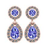1.57 Ctw I2/I3 Tanzanite And Diamond 14K Rose Gold Earrings