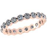 0.98 Ctw Diamond I2/I3 14K Rose Gold Eternity Band Ring