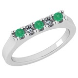 0.34 Ctw SI2/I1 Emerald And Diamond 14K White Gold Band Ring