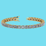 Certified 14.85 Ctw SI1/I2 Diamond Ladies Fashion 18K Yellow Gold Tennis Bracelet