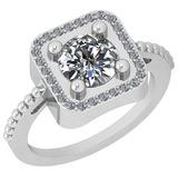1.46 Ctw Diamond I2/I3 14K White Gold Vintage Style Ring