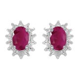 14k White Gold Oval Ruby And Diamond Earrings 0.76 CTW