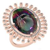 11.08 Ctw VS/SI2 Mystic Topaz And Diamond 14k Rose Gold Vingate Style Ring