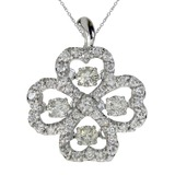 14K White Gold Diamond Dashing Diamonds Pendant 0.69 CTW