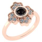 1.30 Ct Natural Salt Pepper Diamond I2/I3And White Diamond I2/I3 14k Rose Gold Engagement Halo Ring
