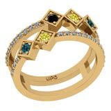 0.59 Ctw I2/I3 Treated Fancy Multi Diamond 14K Yellow Gold Vintage Style Engagement Ring