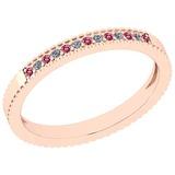 0.18 Ctw SI2/I1 Pink Tourmaline And Diamond 14K Rose Gold Band Ring