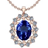 6.13 Ctw VS/SI1 Tanzanite And Diamond 14k Rose Gold Victorian Style Necklace