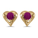 14k Yellow Gold Round Ruby Heart Earrings 0.24 CTW