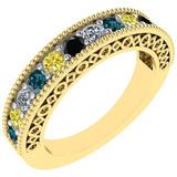 0.75 Ctw I2/I3 Multi Treated Fancy yellow,Blue,Black ,White diamond 14K Yelllow Gold Filigree Style