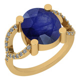 2.77 Ctw I2/I3 Blue Sapphire And Diamond 14K Yellow Gold Ring