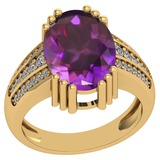 7.84 Ctw VS/SI1 Amethyst And Diamond 14k Yellow Gold Victorian Style Ring
