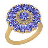 2.86 Ctw I2/I3 Tanzanite And Diamond 14K Yellow Gold Flower Ring
