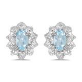 10k White Gold Oval Aquamarine And Diamond Earrings 0.29 CTW