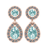 1.57 Ctw I2/I3 Aquamrine And Diamond 14K Rose Gold Earrings
