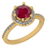 1.52 Ctw VS/SI1 Ruby And Diamond 14K White Gold Engagement Halo Ring
