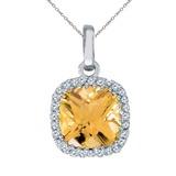14K White Gold Citrine Cushion Pendant with Diamonds 1.59 CTW