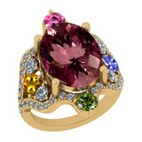 11.01 Ctw SI2/I1 Multi Sapphire,Pink Tourmaline And Diamond 14K Yellow Gold Vingate Style Bridal Wed