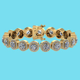 Certified 6.17 Ctw SI1/I2 Diamond Ladies Fashion 18K Yellow Gold Bracelet