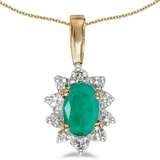 10k Yellow Gold Oval Emerald And Diamond Pendant 0.33 CTW