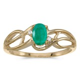 10k Yellow Gold Oval Emerald And Diamond Curve Ring 0.33 CTW