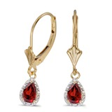 14k Yellow Gold Pear Garnet And Diamond Leverback Earrings 1.02 CTW