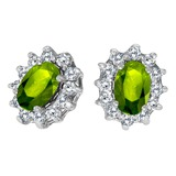 14k White Gold Oval Peridot and .25 total CTW Diamond Earrings 1.05 CTW