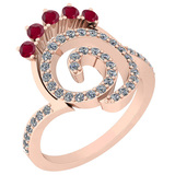 0.96 Ctw VS/SI1 Ruby And Diamond 14K Rose Gold Ring