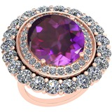 13.79 Ctw Amethyst And Diamond SI2/I1 14k Rose Gold Victorian Style Ring