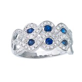 14k White Gold 2 Row Sapphire and Diamond Ring 0.91 CTW