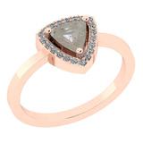 0.86 Ct Natural Salt Pepper Diamond I2/I3And White Diamond I2/I3 14k Rose Gold Vintage Style Ring